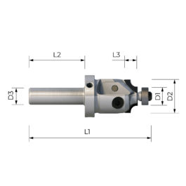 FPS3001 HIGH PRECISION SHANK CUTTER MULTITASKING WITH INTERCHANGEABLE PROFILED PCD INSERT WITH COPY BEARING