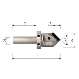 """FPS3003 HIGH PRECISION SHANK CUTTER WITH INTERCHANGEABLE PCD PROFILED INSERTS FOR """"V"""" PROFILES AT 90° / 91°"""