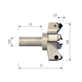 FPS 3006 HIGH PRECISION SHANK CUTTER WITH INTERCHANGEABLE PCD INSERTS FOR PLANING SLAVE PANELS AND CNC MACHINE TABLES
